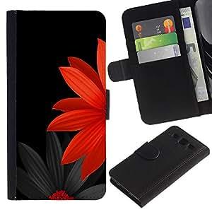 """SAMSUNG Galaxy S3 III / i9300 / i747 , la tarjeta de Crédito Slots PU Funda de cuero Monedero caso cubierta de piel ("""" Flower Japanese Minimalist Black Red"""")"""