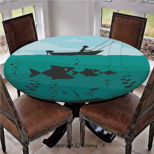 Elastic Edged Polyester Fitted Table Cover,Single Man in Boat Luring with Bobbins Nautical Marine Sea Nature Funky Image,Fits up 56