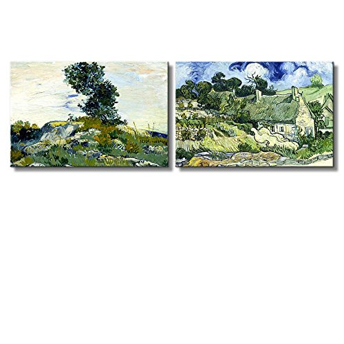 The Rocks Thatched Cottages at Cordeville by Vincent Van Gogh Oil Painting Reproduction in Set of 2 x 2 Panels