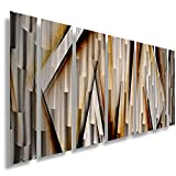Modern Contemporary Abstract Large Metal Wall Sculpture Copper Gold Art Work ''Vanishing Point'' Painting Home Decor