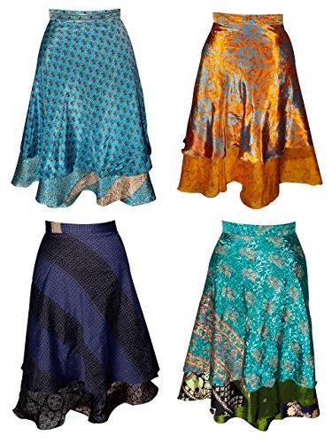 Wholesale Lot of 3 Vintage Sari 2 Layer Magic Wrap Skirt Multi Color Long Wrap Around Skirts Boho Dress, Multicolored, (Hippie Vintage Wrap)