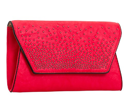 Studded Ladies KT2088 Party Purse Bridal Formal Handbag Bag Clutch Red Leather Women's Faux qffASEHT