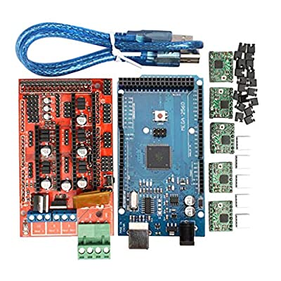 Flameer 3D Printer RAMPS 1.4 Board+Mega 2560 R3 +A4988 Driver+ USB Cable+Jumper Cap