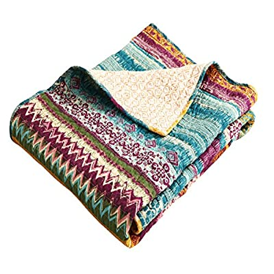 Greenland Home Southwest Throw - Bring the spirit and style of the Great Southwest to your home with the Southwest quilted throw Deep, saturated fuchsia, gold and spruce tones contrast with vivid pink and robin's egg blue in native American motifs Made In China - blankets-throws, bedroom-sheets-comforters, bedroom - 516zBq E3XL. SS400  -