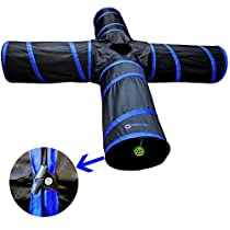 New Cat tunnel Design, Collapsible 4-way Cat Tunnel Toy with Crinkle (Large, Pink) (Large, Dark Blue)