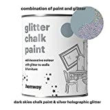 Hemway Dark Skies Chalk Paint (with Silver Holographic Glitter) Sparkle Matt finish Wall and Furniture Paint 1L / 35oz Shabby Chic Vintage Chalky Crystal (25 Glittery Colours Available)