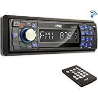 Pyle PLMR17BTB Bluetooth Stereo Radio Headunit Receiver, Wireless Streaming & Hands-Free Call Answering, Aux (3.5mm) MP3 Input, USB & SD Card Readers, Remote Control, Single DIN