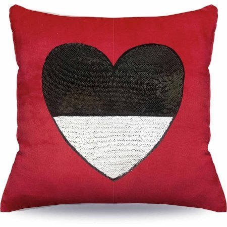 Price comparison product image Pillow Styled With Gorgeous Sequins Red / Black Heart