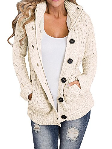 LOVARU Women's Hooded Cable Knit Button Down Cardigan Fleece Sweater Coat (Large, Beige) (Cable Hooded Sweater)