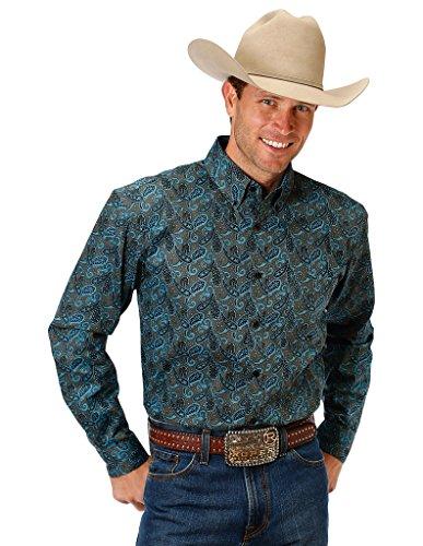 Roper Western Shirt Mens Paisley L/S XL Brown 03-001-0326-0714 BR - Paisley L/s Shirt