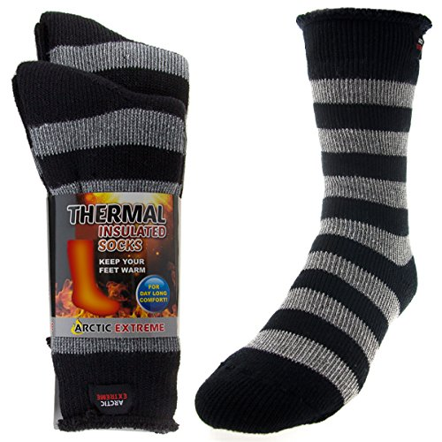 2 Pairs of Thick Heat Trapping Insulated Heated Boot Thermal Socks Pack Warm Winter Crew For Cold Weather, Black & Gray Striped, L: Mens shoe 9-12; Womens 10.5-13 (Shop Gear Pack)