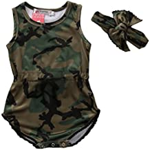 Charm Kingdom Newborn Baby Girls Boys Camouflage Sleeveless Romper Jumpsuit +Headband Outfit