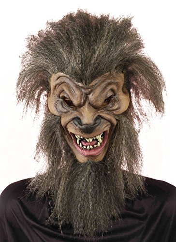 Forum Novelties Men's Wolf By Night Full Mask, Brown, One Size - Brown Wolf Vinyl Mask