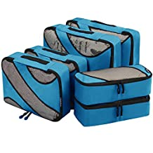 6 Set Packing Cubes,3 Various Sizes Travel Luggage Packing Organizers (Dark Blue)