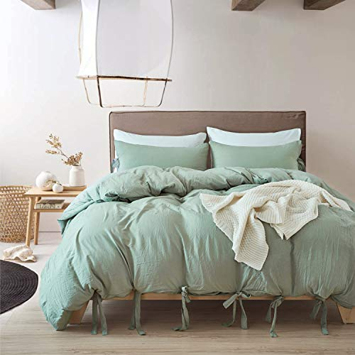 MUKKA 3 Pieces Washed Cotton Technical Wrinkle Looking Modern Pom Poms Style Ball Fringe Sea Green Duvet Cover Bedding Set King Silky Soft Easy Care Bed Linen