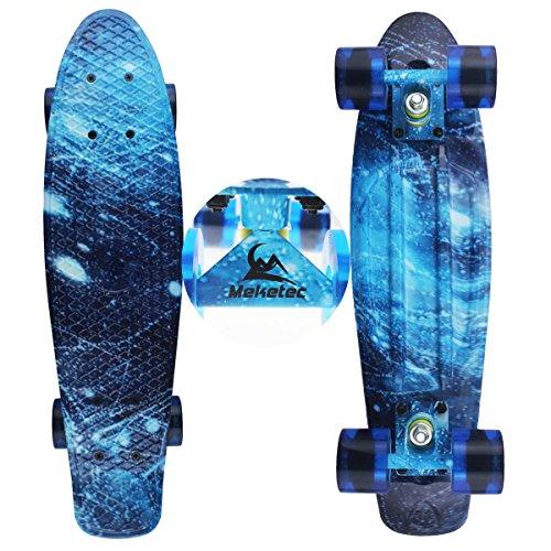 Skateboards Complete Mini Cruiser Retro Skateboard for Kids Boys Youths Beginners 22 Inch(The starry sky)