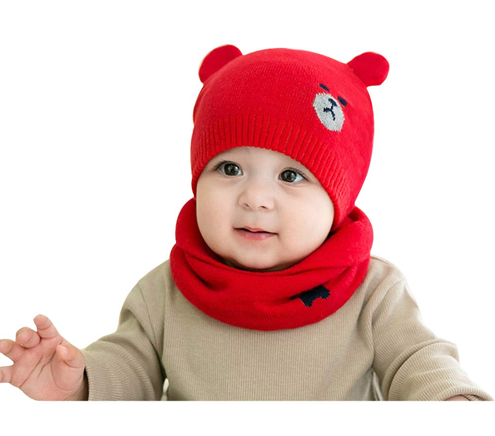 28f43c90048 Amazon.com  Baby Hat Scarf Set Winter Thick Infant Toddler Knit Warm Cute  Bear Beanie Hat Cap and Circle Scarf for Baby Girls Boys - Red  Cell Phones    ...