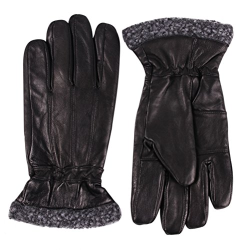 Waterproof Gloves Outdoor Black Men, Color Inchoice Fashion Breathable Full Genuine Leather Gloves(L)