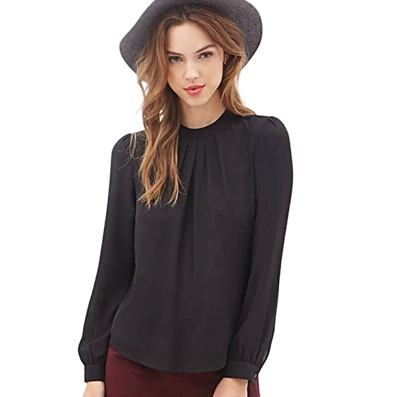 QinMM Camisa de Mujer Verano Pliegue, Blusa Suelta Chifón Tops Manga Larga Casual Shirt (