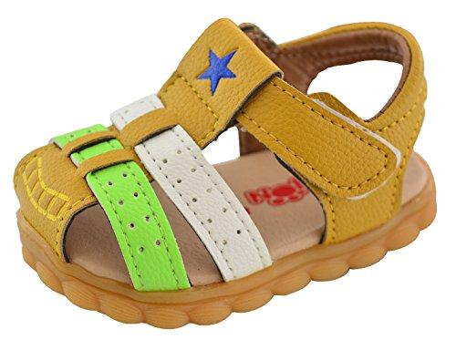 Infant Baby Mocassins Premium Soft Sole Tassels Anti-Slip Summer Prewalker Toddler Sandals Size 4.5 Yellow by Happy Cherry