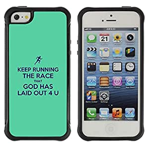 LASTONE PHONE CASE / Suave Silicona Caso Carcasa de Caucho Funda para Apple Iphone 5 / 5S / BIBLE Keep Running The Race