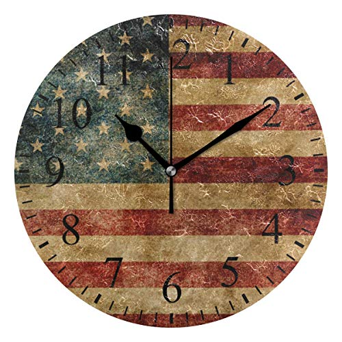 Grapefruit Boy Wall Clock,10 Inch American Flag Pattern Clock Battery Operated Round Easy to Read Home/Office/School Clock