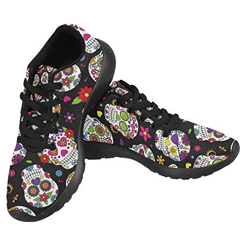 InterestPrint Women's Jogging Running Sneaker Lightweight Go Easy Walking Casual Comfort Sports Running Shoes Size 6 Day Of The Dead Sugar Skull