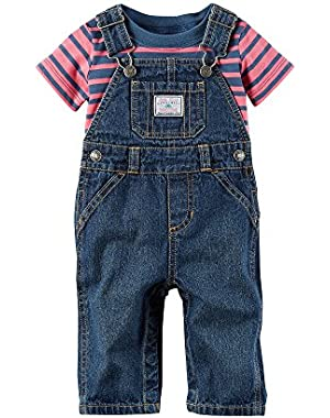 Carter's Baby Boys' 2-Piece Striped Tee And Overalls Set