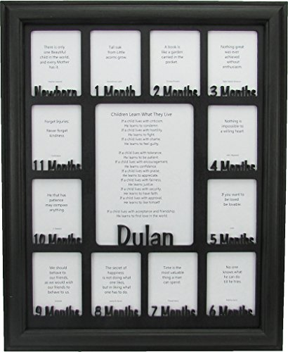 Northland Frames and Gifts Inc - Baby First Year Picture Frame - Personalized Picture Frame with any Name - Black Picture Frame and Black Matte