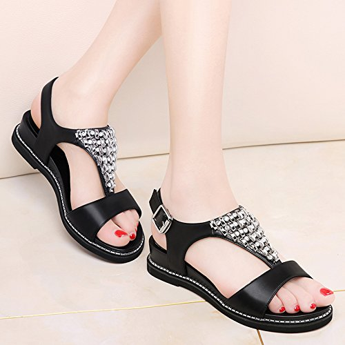 A Toe Match All KPHY Sandals Summer Student Flat Beach Sandals Shoes Black Shoes Buckle 1xfxq0aFn