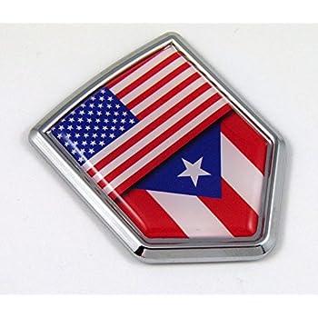 Amazon Usa Puerto Rico American Rican Flag Car Chrome Emblem