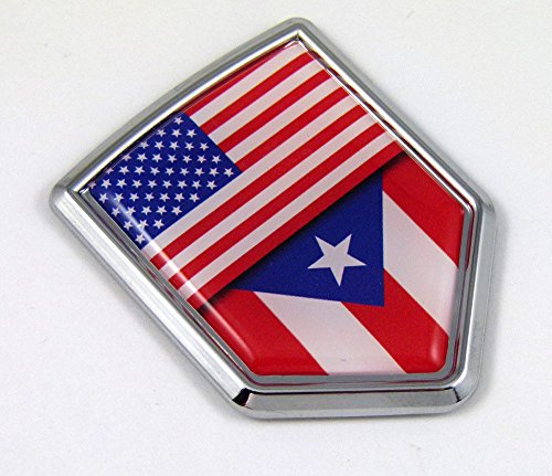(USA Puerto Rico American Rican Flag Car Chrome Emblem Decal Sticker w/ adhesive)