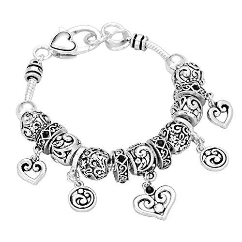 Antique Silver Filigree Heart Pandora Style Charm Bracelet