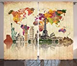 Wanderlust Decor Curtains 2 Panel Set by Ambesonne, Landmarks of the World Seven Wonders Europe Asia America Abstract Map Moden Design, Living Room Bedroom Decor, 108W X 63L Inches, Sepia Cream