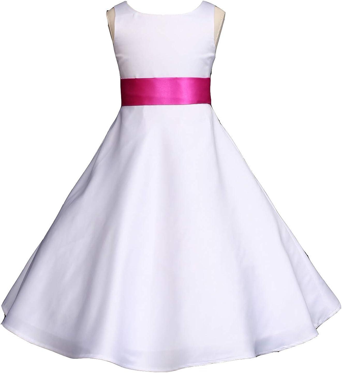 Pink Promise Wedding Pageant White A-Line Matte Satin Jr. Bridesmaid Flower Girl Dress