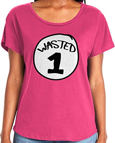 Amdesco Ladies Wasted 1 Dolman T-Shirt, Hot Pink Medium]()