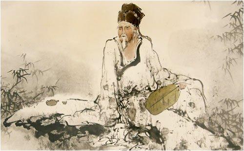 Chinese Sumi Art Brush Painting Old Man Having Tea With