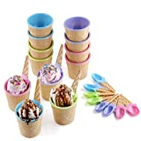 Emoyi Vibrant Colors Ice Cream Dessert Bowls and Spoons Frozen Yogurt Cups Set of 12