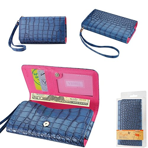 Wallet Blue Alligator with Cash Pocket, Credit card slots and ID Window for Doro 824 SmartEasy with a cover on it. Comes with wrist strap.