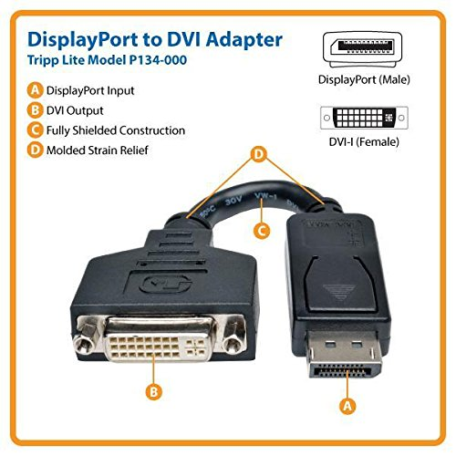 TRIPP LITE P134-000 DisplayPort to DVI Cable Adapter, Converter f/DP-M to DVI-I-F by Tripp Lite