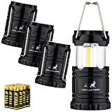 MalloMe LED Camping Lantern Flashlights 4 Pack - Super Bright - 350 Lumen Portable Outdoor Lights with 12 AAA Batteries (Black, Collapsible)