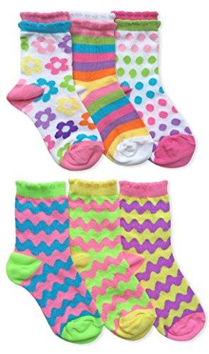 Jefferies Socks Girls Cute Fashion Novelty Crew Socks 6 Pair Pack