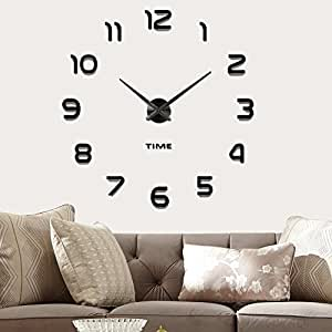 vangold frameless diy wall clock 3d mirror wall clock large mute wall stickers for. Black Bedroom Furniture Sets. Home Design Ideas