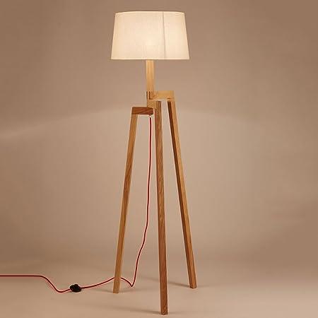 LEGELY Lámpara de pie de madera sólida natural japonesa, lámpara ...