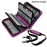 BTSKY® Deluxe PU Leather Pencil Case For Colored Pencils - 160 Slot Pencil Holder (Purple)