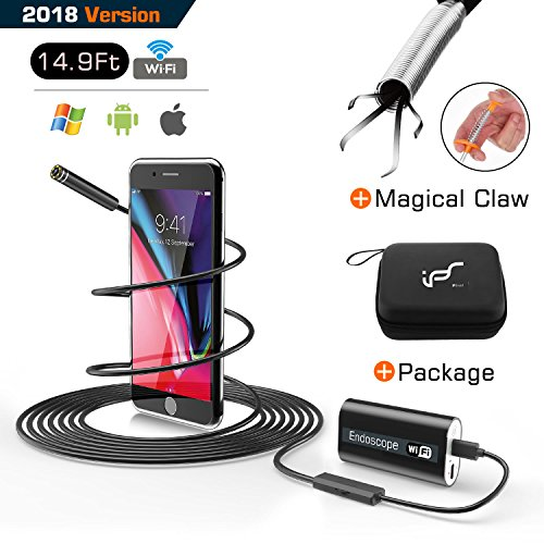 "Endoscope Borescope Inspection Camera Snake Camera Wireless WiFi Waterproof with 24"" Flexible Grabber Pick-up Tool 4 Finger Claw Retriever 720P HD 2.0 MP for Android,IOS,iPhone 14.9 FT (5M) (Black-5M)"