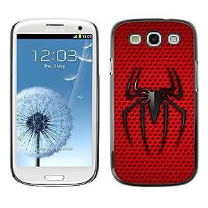 Paccase / SLIM PC / Aliminium Casa Carcasa Funda Case Cover para - Minimalist Red Black Spider - Samsung Galaxy S3 I9300