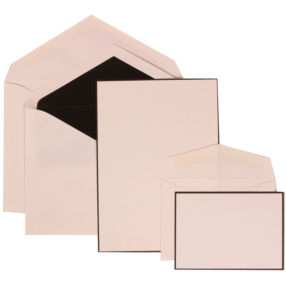 JAM Paper Wedding Invitation Combo Sets - 1 Small & 1 Large - Black Border Floral Sets, White Card with Black Lined Envelope - 150/pack