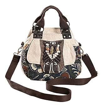 COOFIT Women Shoulder Bag Vintage National Style Crossbody Bag Casual Handbag