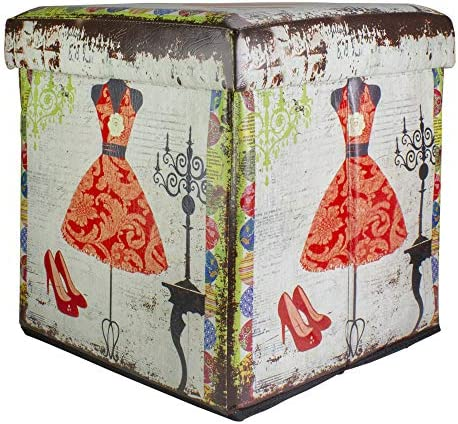 Northlight 15 Decorative Vintage Dress and Fashion Collapsible Wooden Storage Ottoman